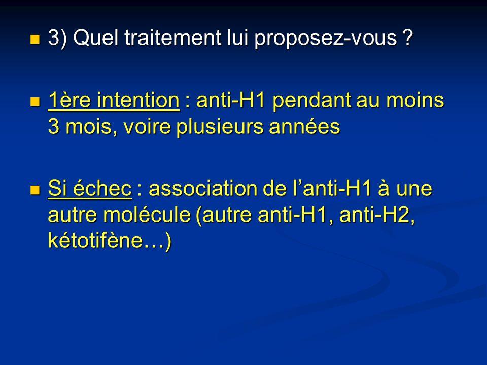 3) Quel traitement lui proposez-vous ? 3) Quel traitement lui proposez-vous ? 1ère intention : anti-H1 pendant au moins 3 mois, voire plusieurs années