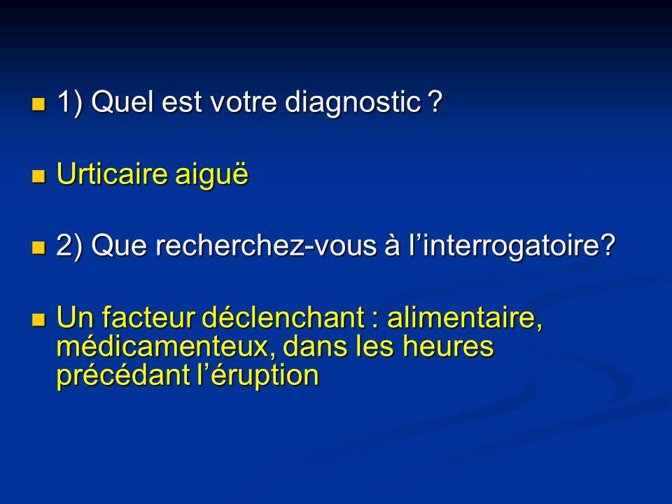 1) Quel est votre diagnostic ? 1) Quel est votre diagnostic ? Urticaire aiguë Urticaire aiguë 2) Que recherchez-vous à linterrogatoire? 2) Que recherc