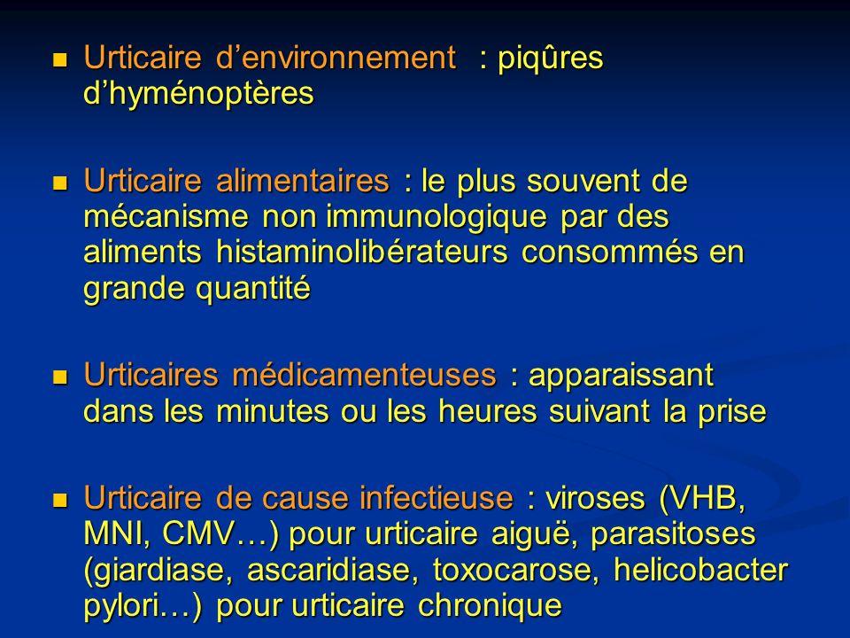 Urticaire denvironnement : piqûres dhyménoptères Urticaire denvironnement : piqûres dhyménoptères Urticaire alimentaires : le plus souvent de mécanism