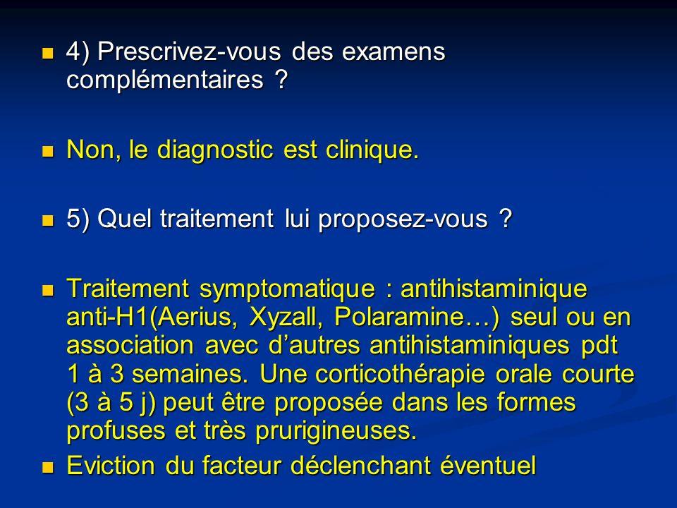 4) Prescrivez-vous des examens complémentaires ? 4) Prescrivez-vous des examens complémentaires ? Non, le diagnostic est clinique. Non, le diagnostic