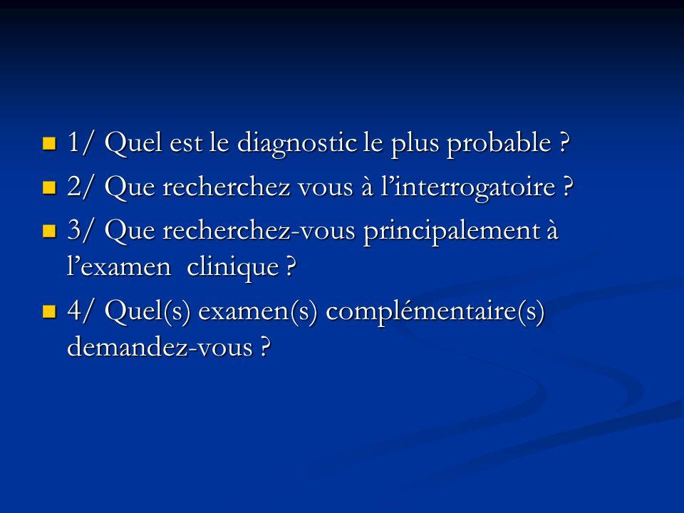 1/ Quel est le diagnostic le plus probable ? 1/ Quel est le diagnostic le plus probable ? 2/ Que recherchez vous à linterrogatoire ? 2/ Que recherchez