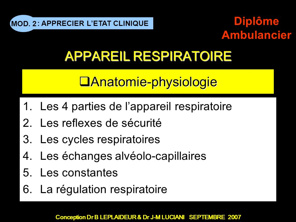 Conception Dr B LEPLAIDEUR & Dr J-M LUCIANI SEPTEMBRE 2007 : APPRECIER LETAT CLINIQUE MOD. 2 Diplôme Ambulancier Le grand titre APPAREIL RESPIRATOIRE