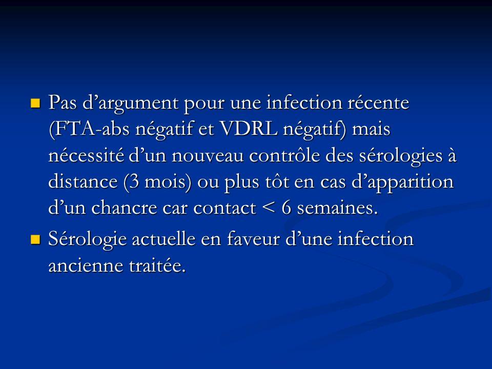 Pas dargument pour une infection récente (FTA-abs négatif et VDRL négatif) mais nécessité dun nouveau contrôle des sérologies à distance (3 mois) ou p
