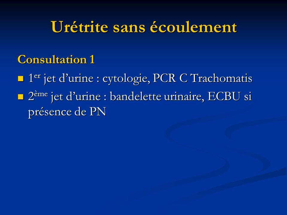 Urétrite sans écoulement Consultation 1 1 er jet durine : cytologie, PCR C Trachomatis 1 er jet durine : cytologie, PCR C Trachomatis 2 ème jet durine