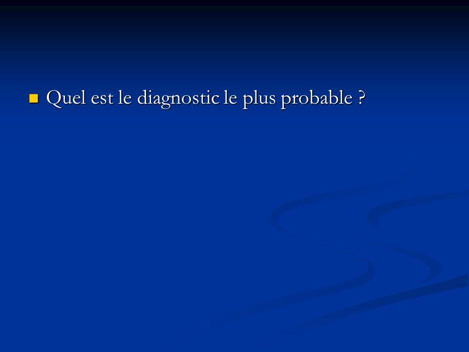Quel est le diagnostic le plus probable ? Quel est le diagnostic le plus probable ?