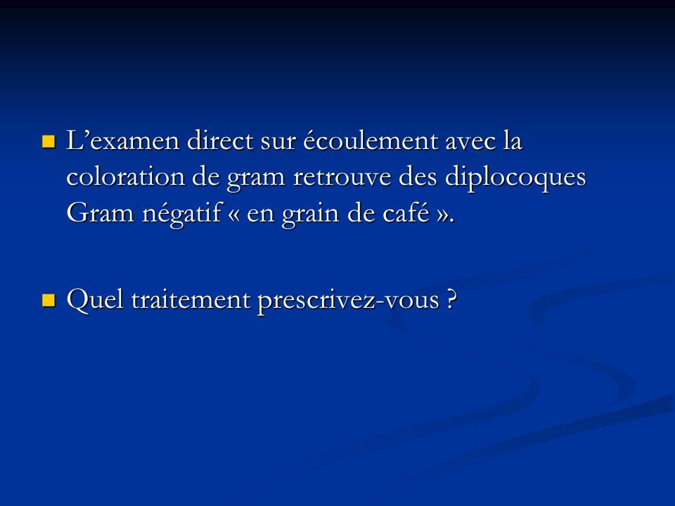 Lexamen direct sur écoulement avec la coloration de gram retrouve des diplocoques Gram négatif « en grain de café ». Lexamen direct sur écoulement ave