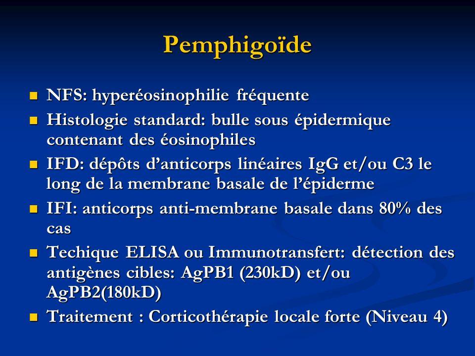 Pemphigoïde NFS: hyperéosinophilie fréquente NFS: hyperéosinophilie fréquente Histologie standard: bulle sous épidermique contenant des éosinophiles H
