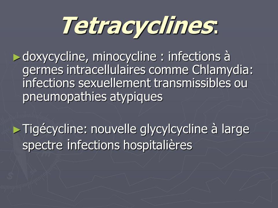 Tetracyclines: doxycycline, minocycline : infections à germes intracellulaires comme Chlamydia: infections sexuellement transmissibles ou pneumopathie