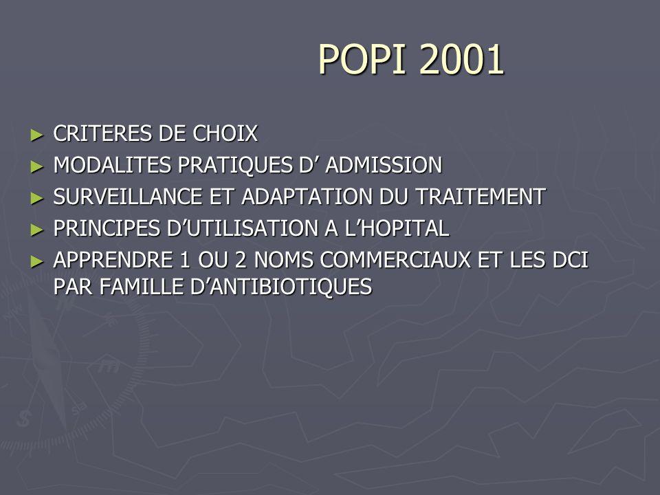 POPI 2001 POPI 2001 CRITERES DE CHOIX CRITERES DE CHOIX MODALITES PRATIQUES D ADMISSION MODALITES PRATIQUES D ADMISSION SURVEILLANCE ET ADAPTATION DU