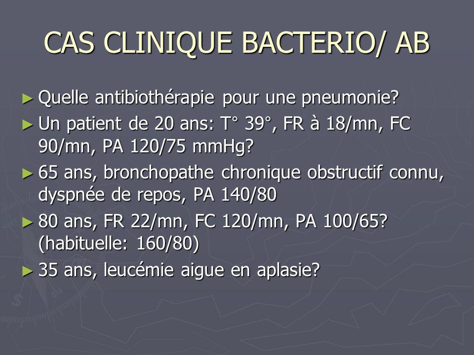 CAS CLINIQUE BACTERIO/ AB Quelle antibiothérapie pour une pneumonie? Quelle antibiothérapie pour une pneumonie? Un patient de 20 ans: T° 39°, FR à 18/