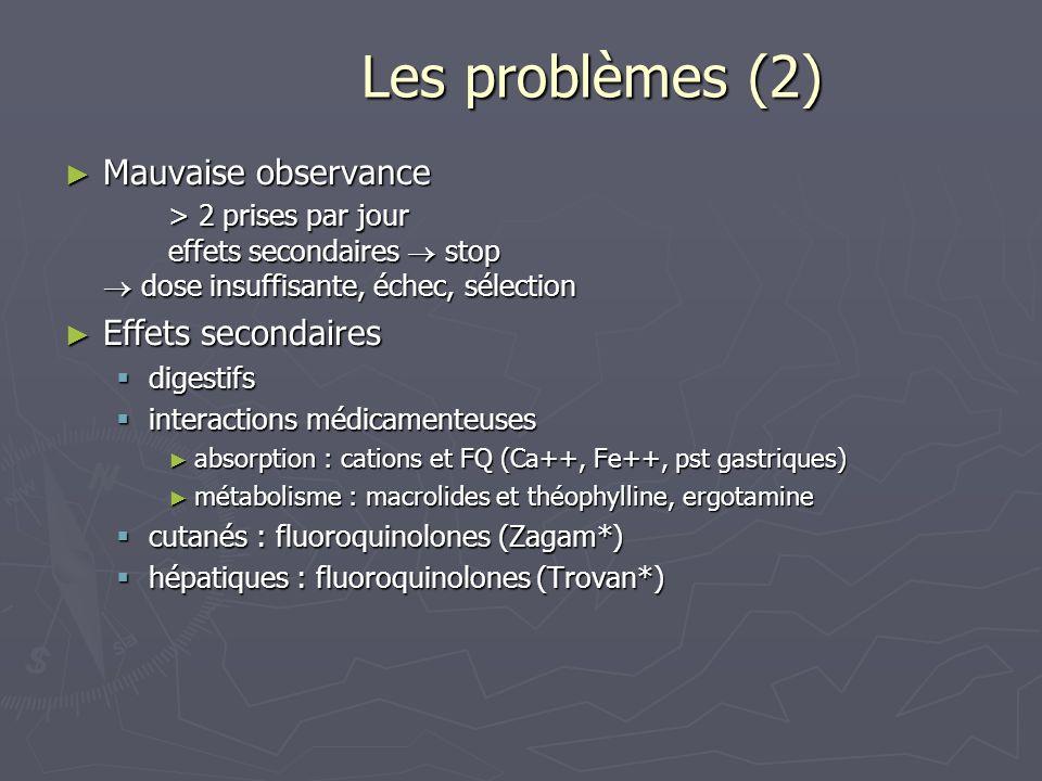 Les problèmes (2) Les problèmes (2) Mauvaise observance > 2 prises par jour effets secondaires stop dose insuffisante, échec, sélection Mauvaise obser