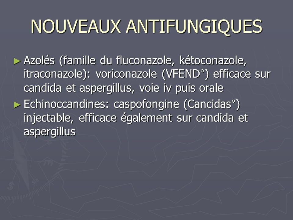 NOUVEAUX ANTIFUNGIQUES Azolés (famille du fluconazole, kétoconazole, itraconazole): voriconazole (VFEND°) efficace sur candida et aspergillus, voie iv
