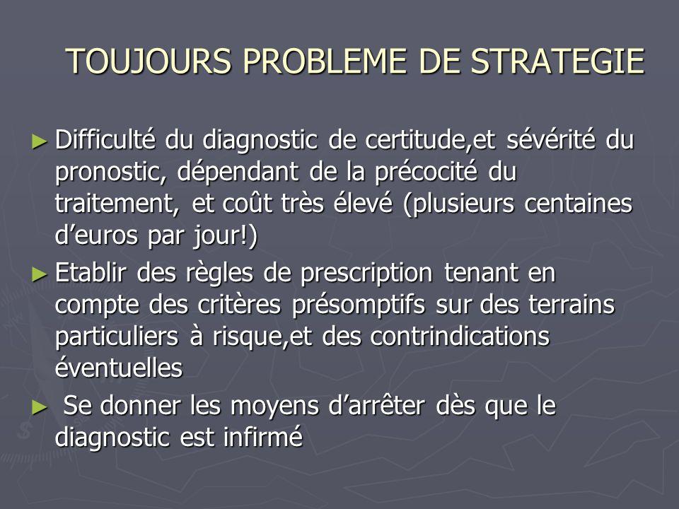 TOUJOURS PROBLEME DE STRATEGIE TOUJOURS PROBLEME DE STRATEGIE Difficulté du diagnostic de certitude,et sévérité du pronostic, dépendant de la précocit
