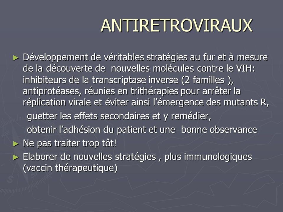 ANTIRETROVIRAUX ANTIRETROVIRAUX Développement de véritables stratégies au fur et à mesure de la découverte de nouvelles molécules contre le VIH: inhib