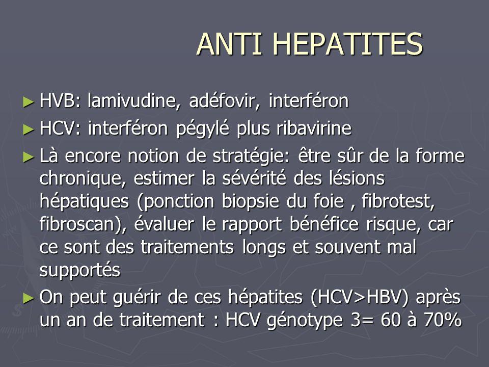 ANTI HEPATITES ANTI HEPATITES HVB: lamivudine, adéfovir, interféron HVB: lamivudine, adéfovir, interféron HCV: interféron pégylé plus ribavirine HCV: