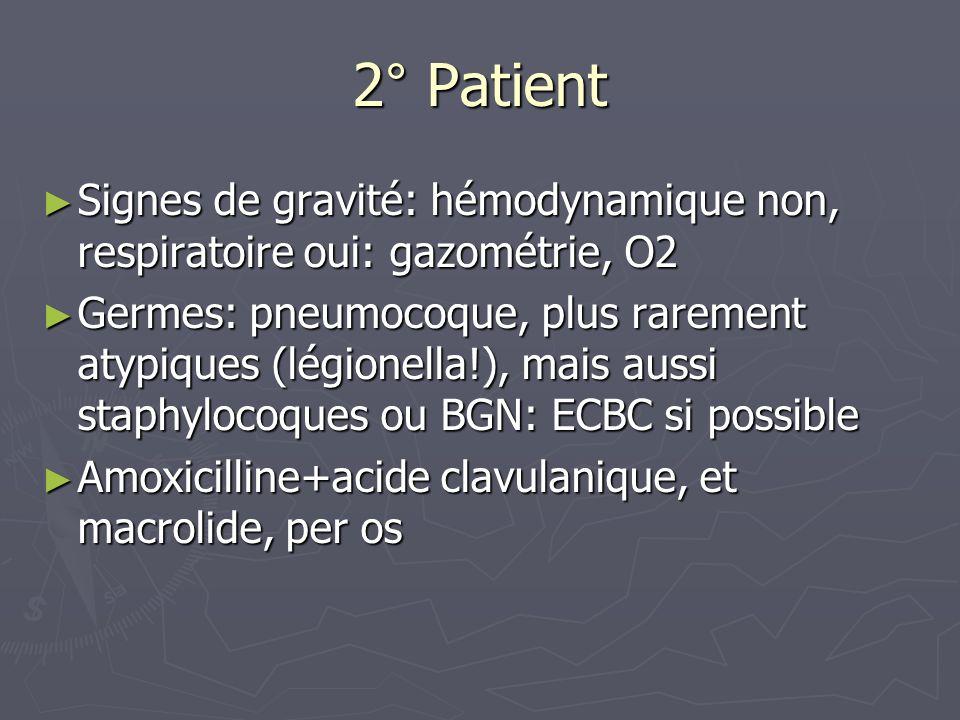 3° patient Signes de gravité de létat infectieux: Signes de gravité de létat infectieux: T°> 38°, FC>90, FR>20, baisse de la PAS de plus de 40mmHG T°> 38°, FC>90, FR>20, baisse de la PAS de plus de 40mmHG Perfusion, remplissage vx par macromolécules, O2 Perfusion, remplissage vx par macromolécules, O2 Facteur de risque= vieillard Facteur de risque= vieillard ECBC, hémoculture ECBC, hémoculture Voie iv pour AAC (ou C3G) et macrolide (FQ si ag urie légionella +) Voie iv pour AAC (ou C3G) et macrolide (FQ si ag urie légionella +) Alternative: fluoroquinolones antipneumococcique (levofloxacine) Alternative: fluoroquinolones antipneumococcique (levofloxacine)