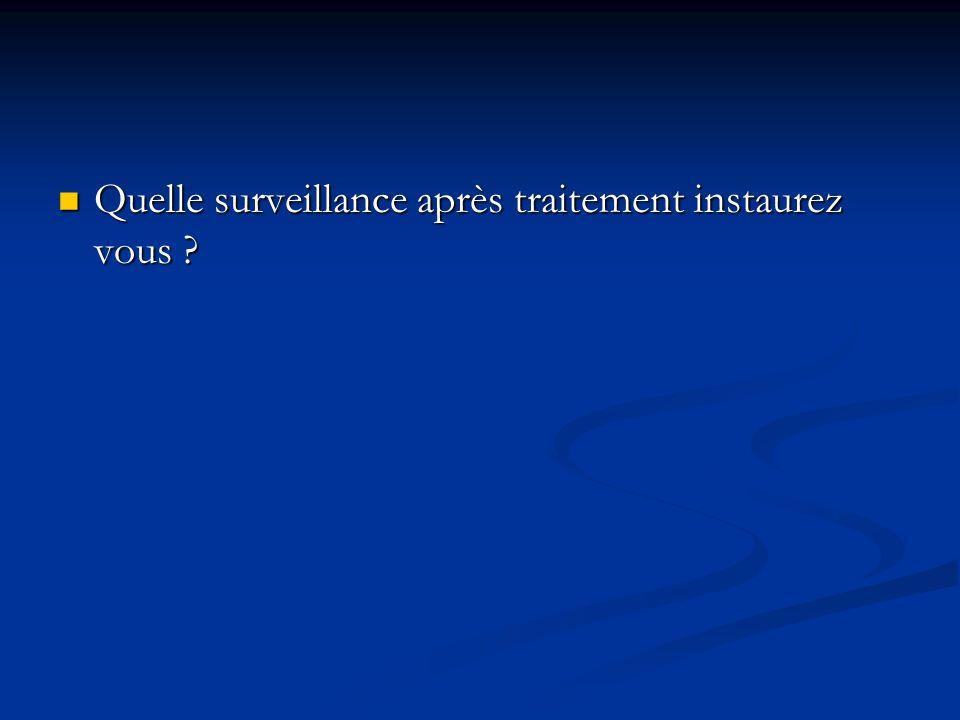 Quelle surveillance après traitement instaurez vous ? Quelle surveillance après traitement instaurez vous ?