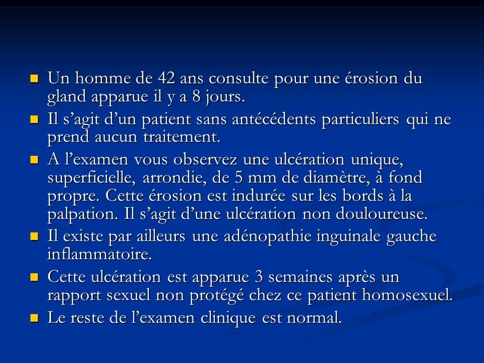Il peut sagir dune réaction dHerxheimer : fréquente en cas de syphilis précoce, le plus souvent sans gravité : aggravation des manifestations cliniques, fièvre, céphalées, éruption.