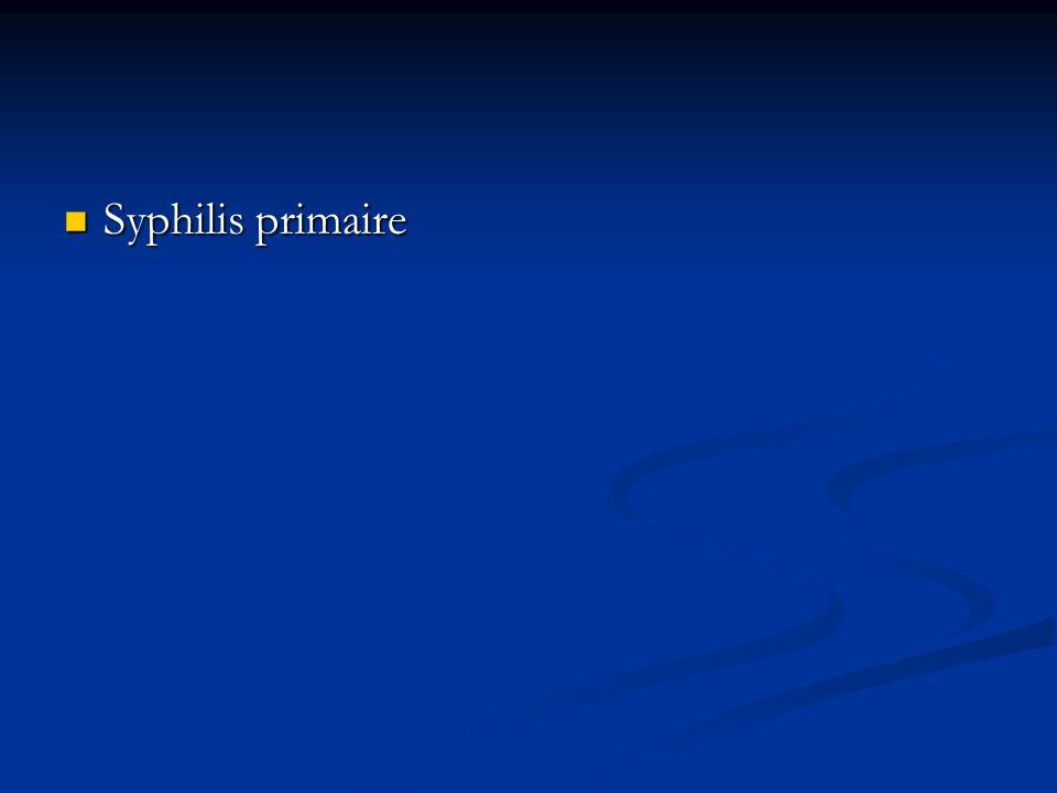Le diagnostic Le diagnostic repose sur linterprétation des tests sérologiques Les sérologies syphilitiques : Les sérologies syphilitiques : - sérologie spécifique : TPHA (Treponema Pallidum haemagglutination assay) - sérologie non spécifique : VDRL (Venereal Diseases Research Laboratory) - Le FTA (Fluorescent Treponemal Antibody) : réaction spécifique qui consiste à mettre en évidence des Ac contre le tréponème pâle.