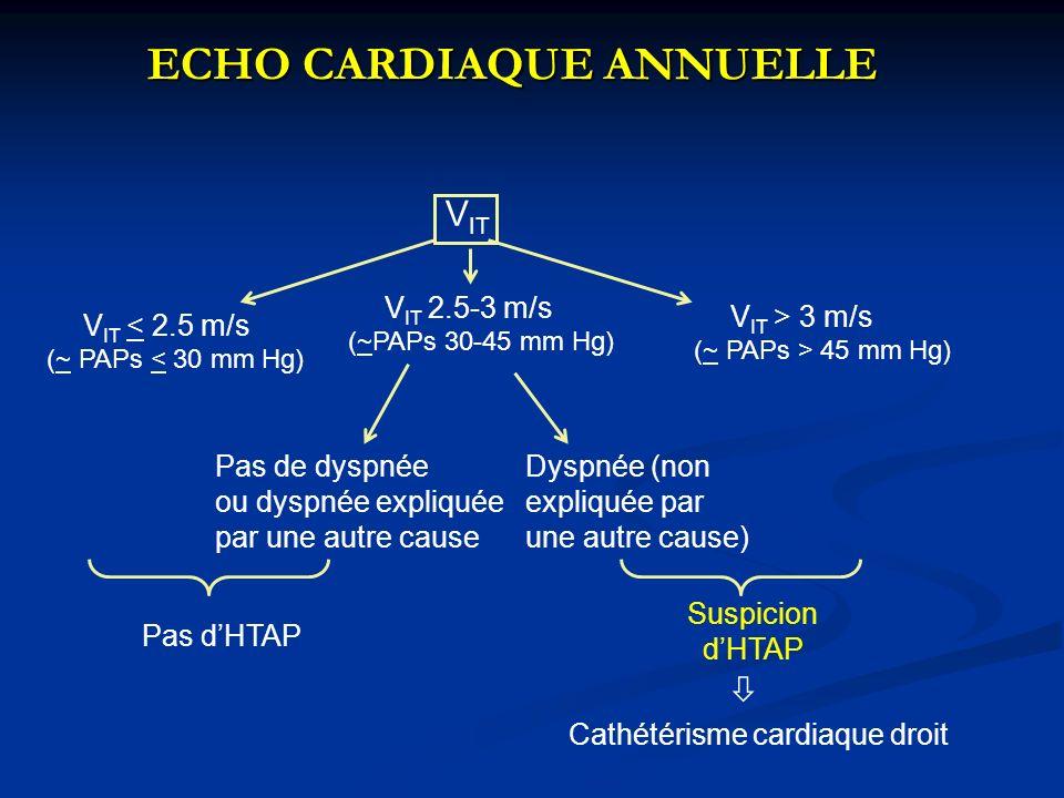 ECHO CARDIAQUE ANNUELLE ECHO CARDIAQUE ANNUELLE V IT > 3 m/s (~ PAPs > 45 mm Hg) V IT V IT < 2.5 m/s (~ PAPs < 30 mm Hg) V IT 2.5-3 m/s (~PAPs 30-45 m