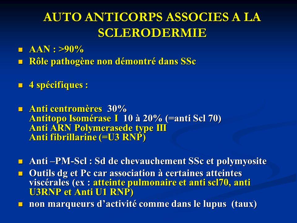 AUTO ANTICORPS ASSOCIES A LA SCLERODERMIE AAN : >90% AAN : >90% Rôle pathogène non démontré dans SSc Rôle pathogène non démontré dans SSc 4 spécifique