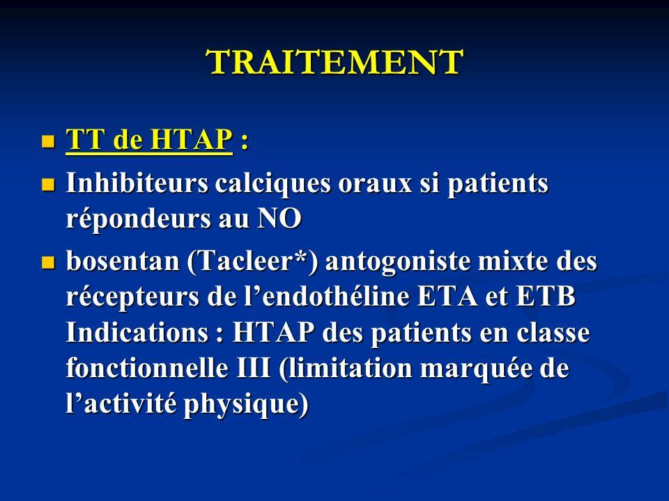 TRAITEMENT TT de HTAP : TT de HTAP : Inhibiteurs calciques oraux si patients répondeurs au NO Inhibiteurs calciques oraux si patients répondeurs au NO