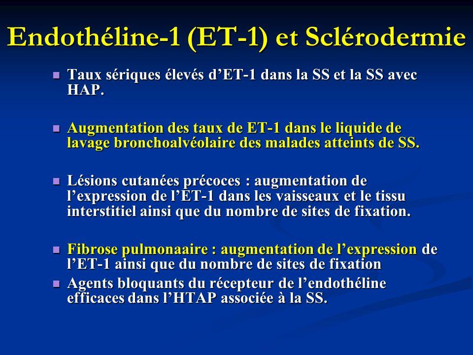 Endothéline-1 (ET-1) et Sclérodermie Taux sériques élevés dET-1 dans la SS et la SS avec HAP. Taux sériques élevés dET-1 dans la SS et la SS avec HAP.