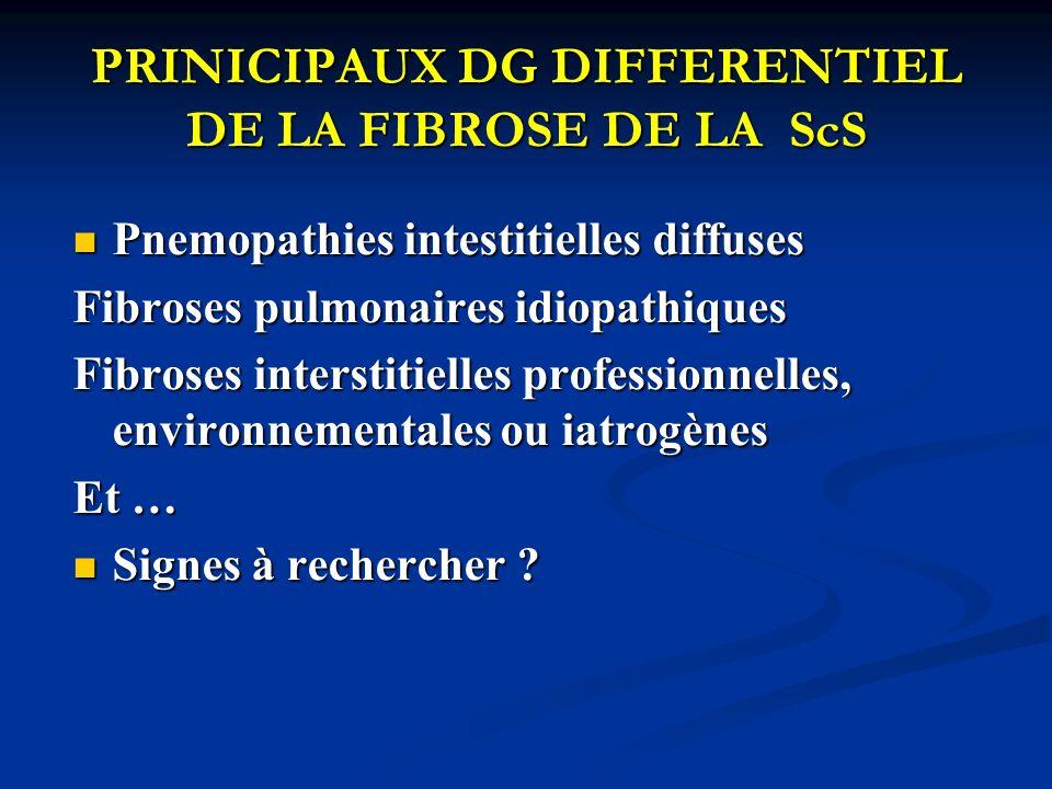 PRINICIPAUX DG DIFFERENTIEL DE LA FIBROSE DE LA ScS Pnemopathies intestitielles diffuses Pnemopathies intestitielles diffuses Fibroses pulmonaires idi