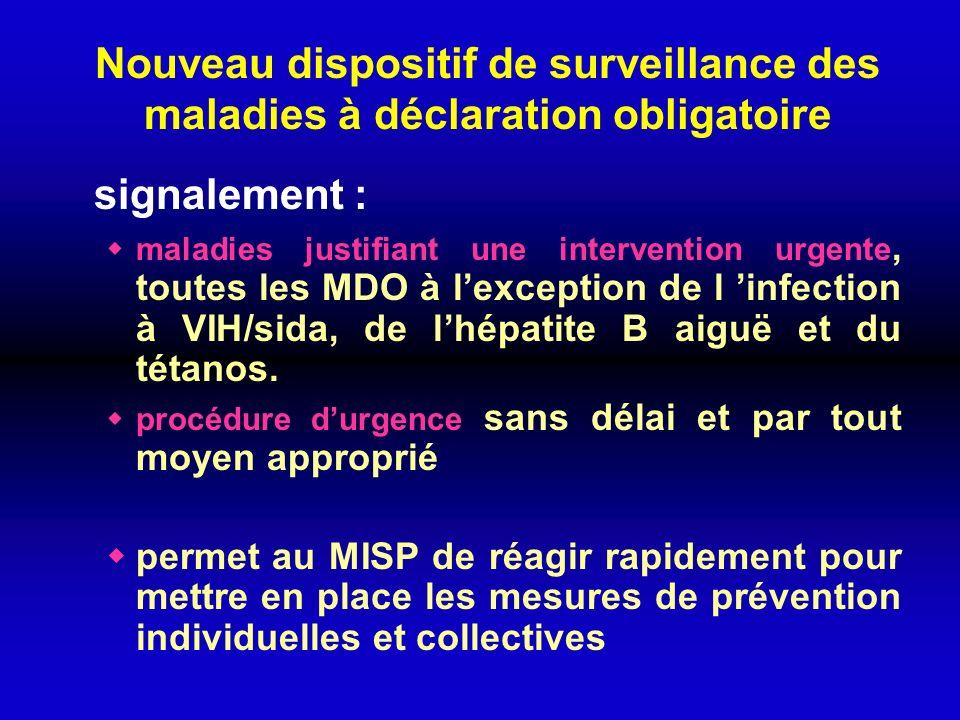 Nouveau dispositif de surveillance des maladies à déclaration obligatoire signalement : maladies justifiant une intervention urgente, toutes les MDO à