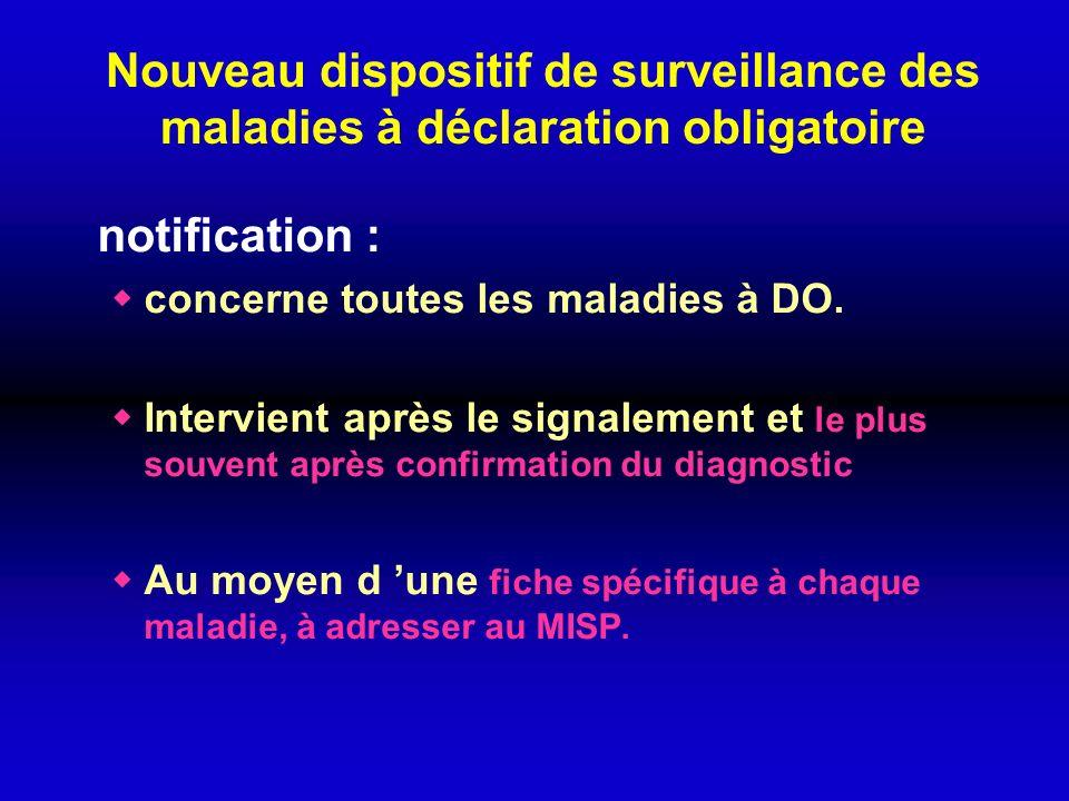 Nouveau dispositif de surveillance des maladies à déclaration obligatoire notification : concerne toutes les maladies à DO. Intervient après le signal