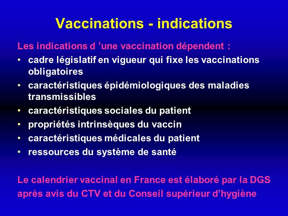 Vaccinations - indications Les indications d une vaccination dépendent : cadre législatif en vigueur qui fixe les vaccinations obligatoires caractéris