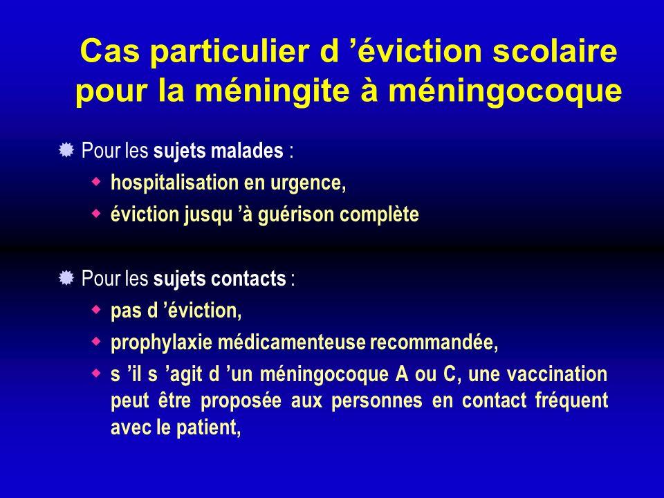 Cas particulier d éviction scolaire pour la méningite à méningocoque Pour les sujets malades : hospitalisation en urgence, éviction jusqu à guérison c