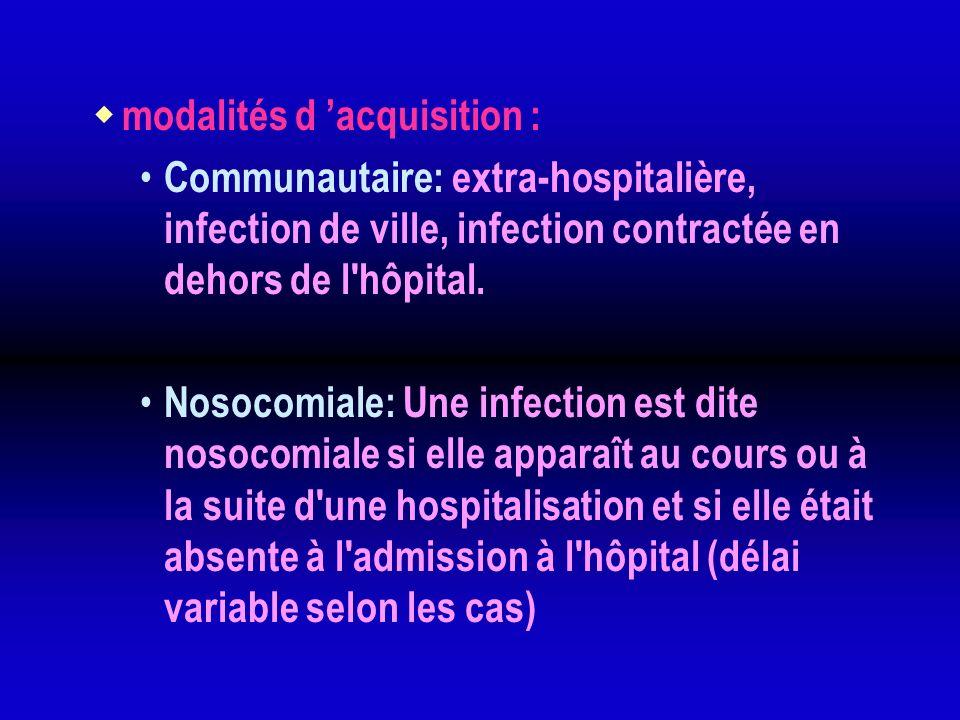 modalités d acquisition : Communautaire: extra-hospitalière, infection de ville, infection contractée en dehors de l'hôpital. Nosocomiale: Une infecti