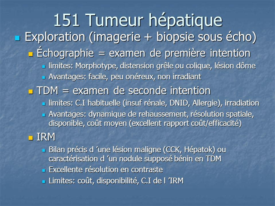 151 Tumeur hépatique Exploration (imagerie + biopsie sous écho) Exploration (imagerie + biopsie sous écho) Échographie = examen de première intention