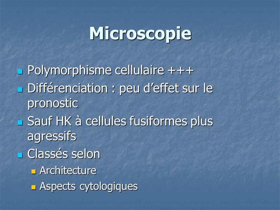 Microscopie Polymorphisme cellulaire +++ Polymorphisme cellulaire +++ Différenciation : peu deffet sur le pronostic Différenciation : peu deffet sur l