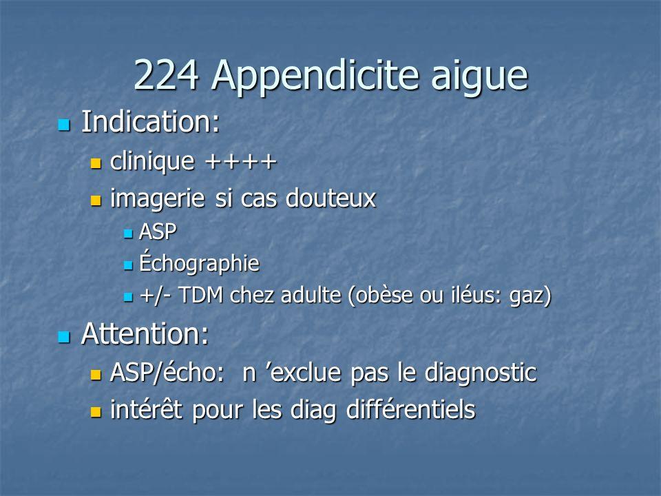 224 Appendicite aigue Indication: Indication: clinique ++++ clinique ++++ imagerie si cas douteux imagerie si cas douteux ASP ASP Échographie Échograp