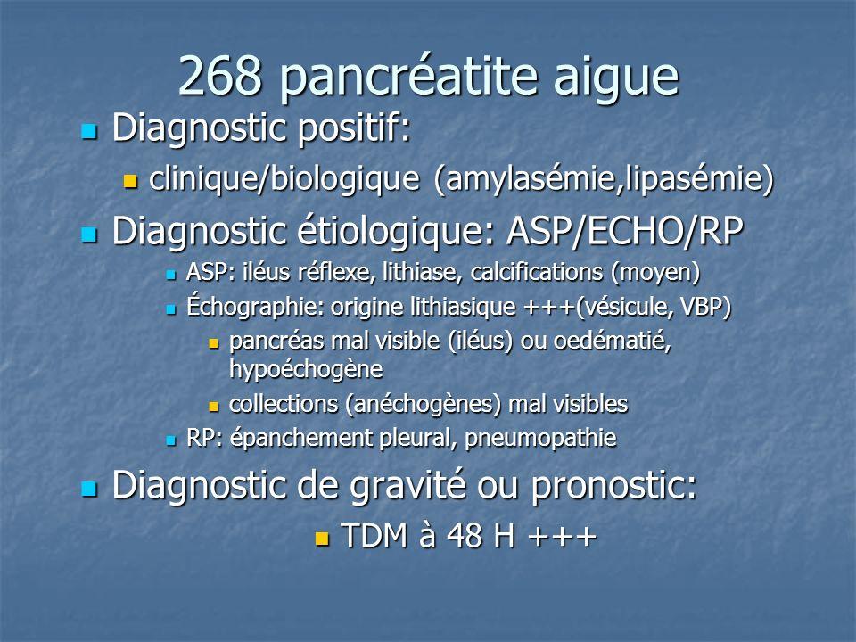 268 pancréatite aigue Diagnostic positif: Diagnostic positif: clinique/biologique (amylasémie,lipasémie) clinique/biologique (amylasémie,lipasémie) Di