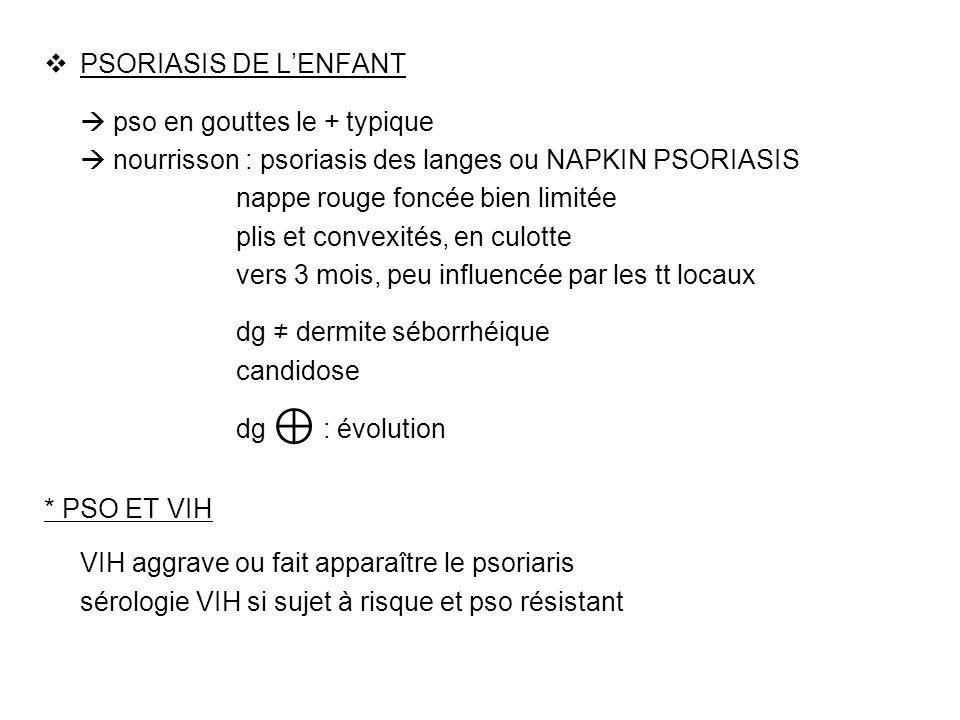 PSORIASIS DE LENFANT pso en gouttes le + typique nourrisson : psoriasis des langes ou NAPKIN PSORIASIS nappe rouge foncée bien limitée plis et convexi