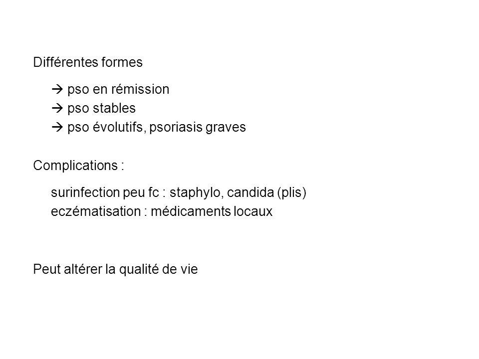 Différentes formes pso en rémission pso stables pso évolutifs, psoriasis graves Complications : surinfection peu fc : staphylo, candida (plis) eczémat