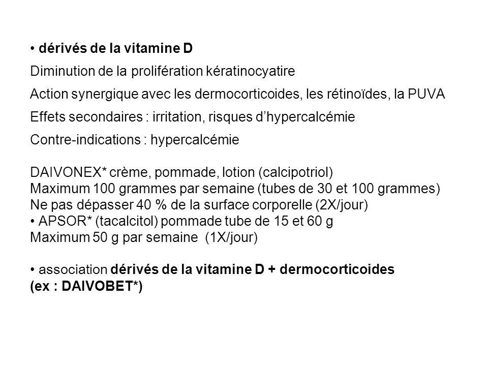 dérivés de la vitamine D Diminution de la prolifération kératinocyatire Action synergique avec les dermocorticoides, les rétinoïdes, la PUVA Effets se