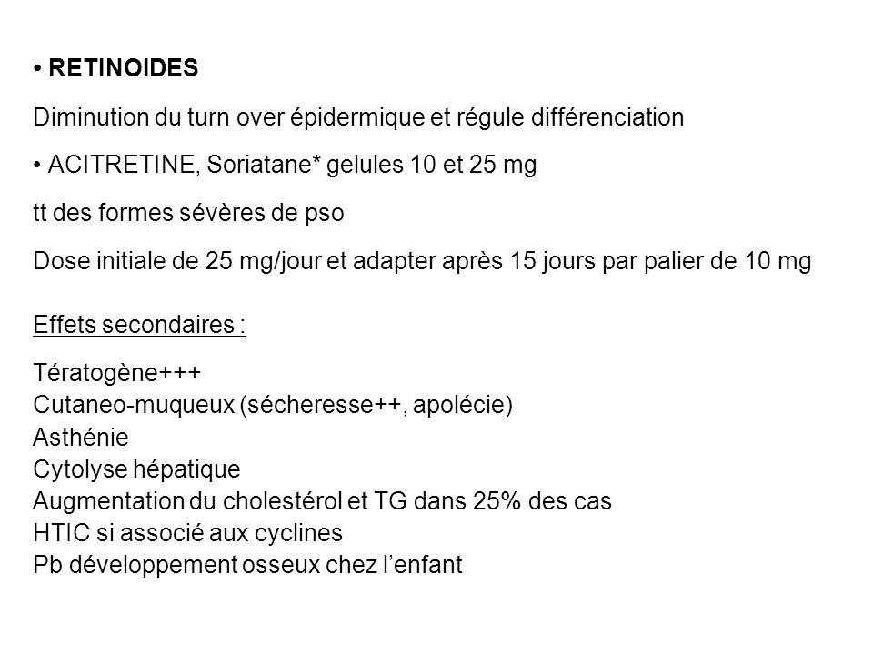 RETINOIDES Diminution du turn over épidermique et régule différenciation ACITRETINE, Soriatane* gelules 10 et 25 mg tt des formes sévères de pso Dose