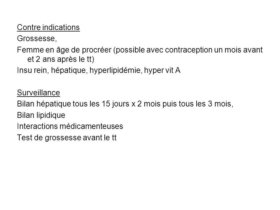 Contre indications Grossesse, Femme en âge de procréer (possible avec contraception un mois avant et 2 ans après le tt) Insu rein, hépatique, hyperlip