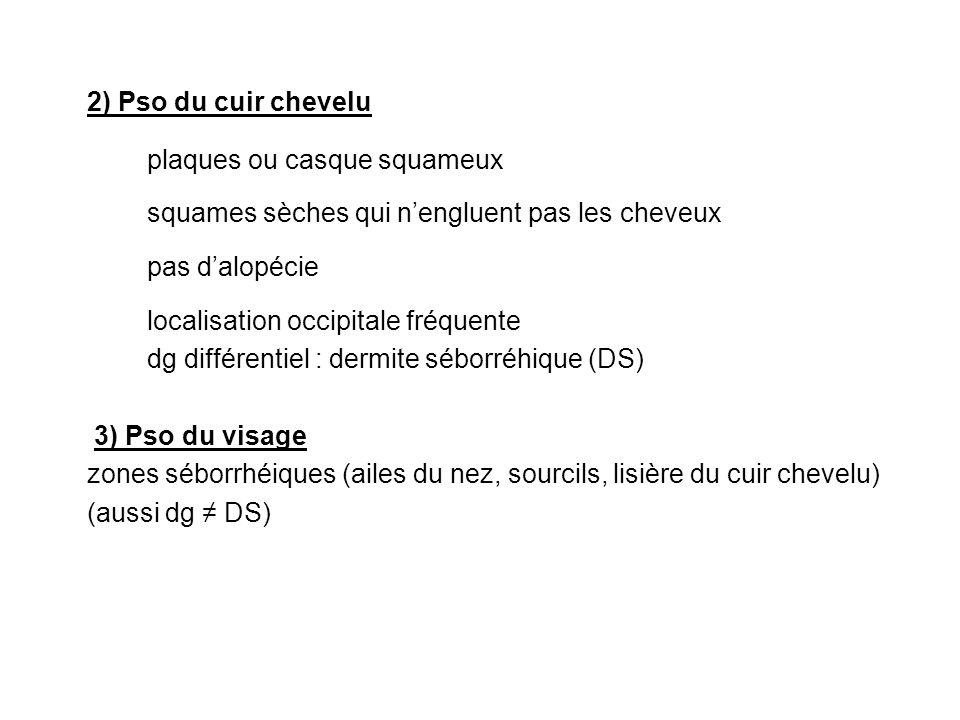 4) Pso palmo-plantaire *Kétatodermie palmo-plantaire en ilots ou diffuse *Pulpite sèche Psoriasis palmo-plantaire pustuleux (pustules jaunatres évoluant par poussées, assez fréquent, rebelle, dévo chronique) 5) Psoriasis des ongles 30 à 50 % ( aide au dg) pfs atteinte isolée *Ongles en dé à coudre *Onycholyse bordée dune zone jaune *Hyperkératose sous-unguéale