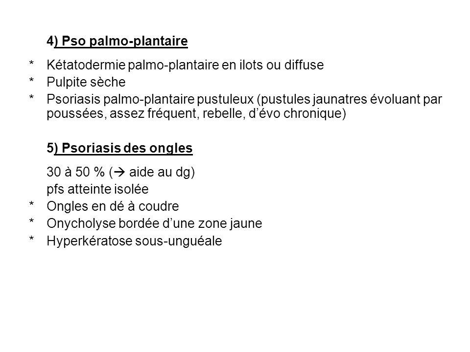 FORME CLINIQUES Psoriasis érythrodermique : Dermocorticoides puis rétinoides Psoriasis pustuleux : Tt de choix des retinoides (fortes doses) Pso (en gouttes) de lenfant : Émollients, dermocorticoides, devirés Vit D, +-AB t court si en gouttes (f sévères : rétinoides ou PUVA) Pso palmoplantaire : Résistant : tt locaux, si echec : rétinoides ou UV (locaux si possibles) ou les 2