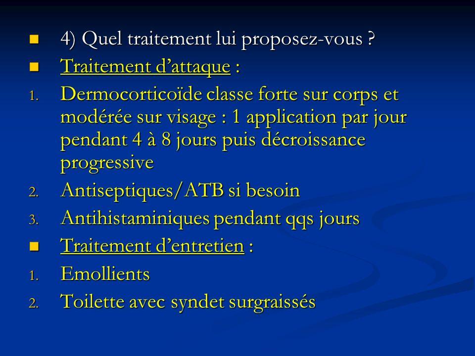 4) Quel traitement lui proposez-vous ? 4) Quel traitement lui proposez-vous ? Traitement dattaque : Traitement dattaque : 1. Dermocorticoïde classe fo