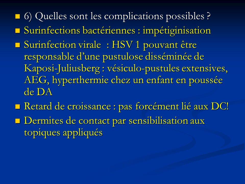 6) Quelles sont les complications possibles ? 6) Quelles sont les complications possibles ? Surinfections bactériennes : impétiginisation Surinfection