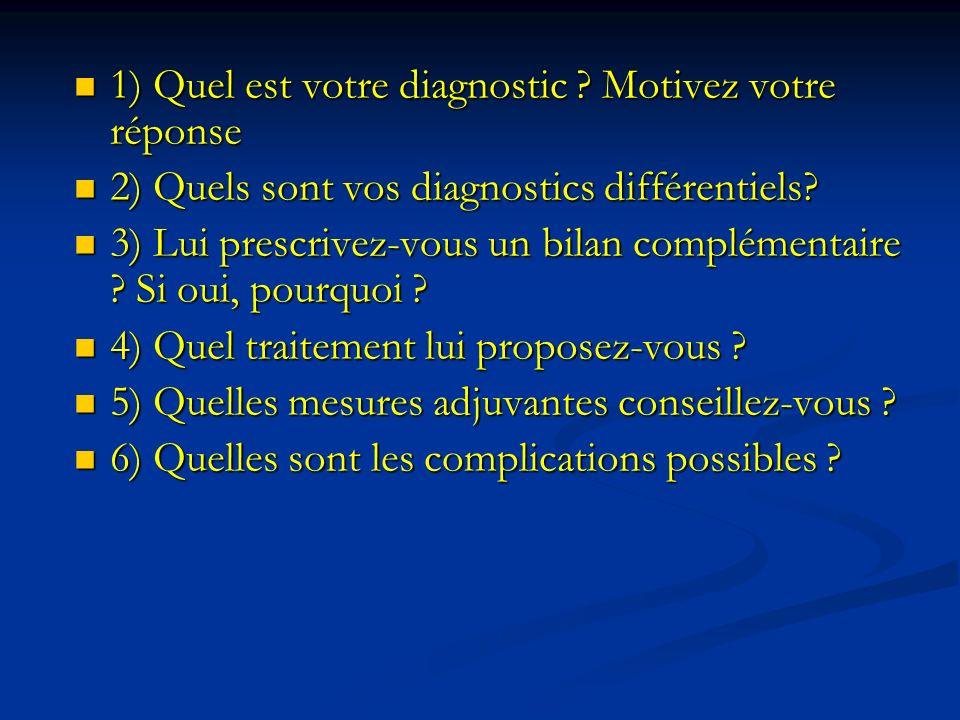 1) Quel est votre diagnostic ? Motivez votre réponse 1) Quel est votre diagnostic ? Motivez votre réponse 2) Quels sont vos diagnostics différentiels?