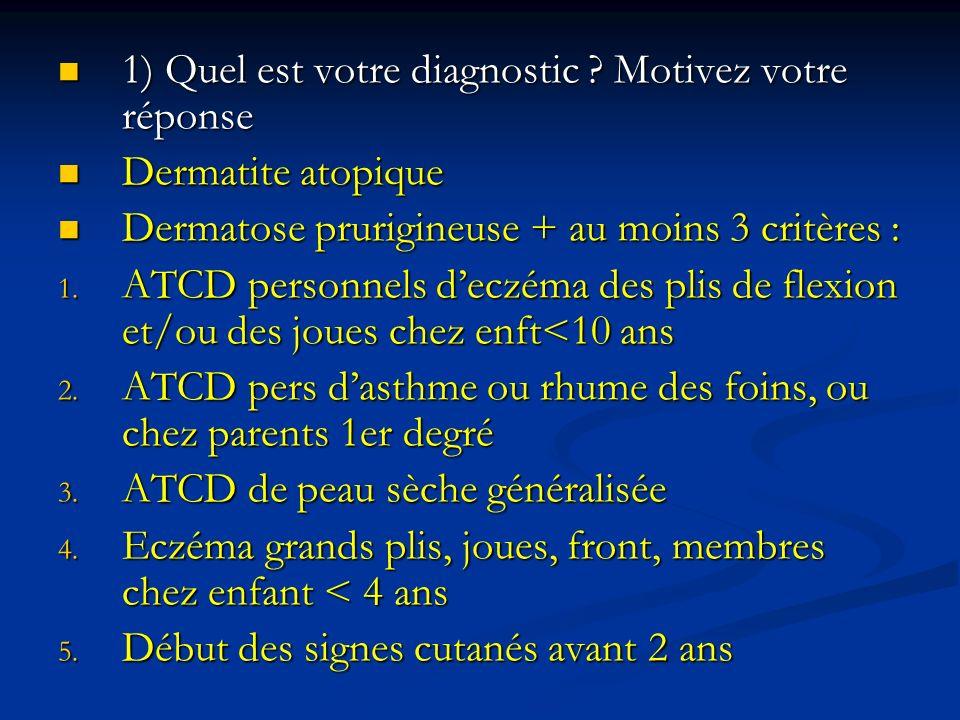 1) Quel est votre diagnostic ? Motivez votre réponse 1) Quel est votre diagnostic ? Motivez votre réponse Dermatite atopique Dermatite atopique Dermat