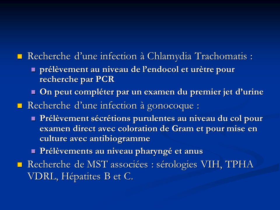 Recherche dune infection à Chlamydia Trachomatis : Recherche dune infection à Chlamydia Trachomatis : prélèvement au niveau de lendocol et urètre pour