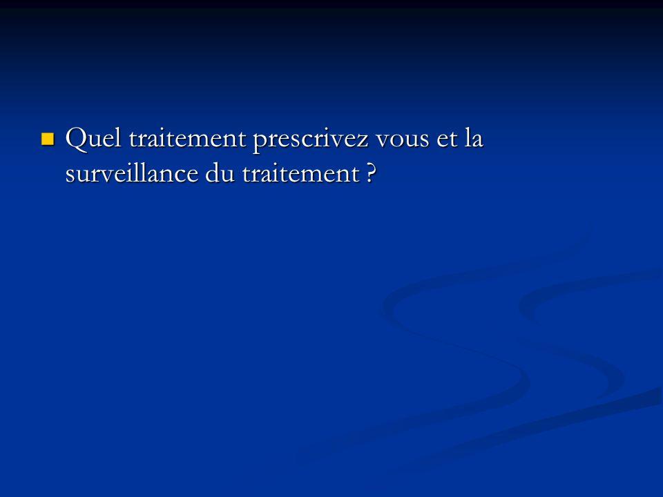 Quel traitement prescrivez vous et la surveillance du traitement ? Quel traitement prescrivez vous et la surveillance du traitement ?